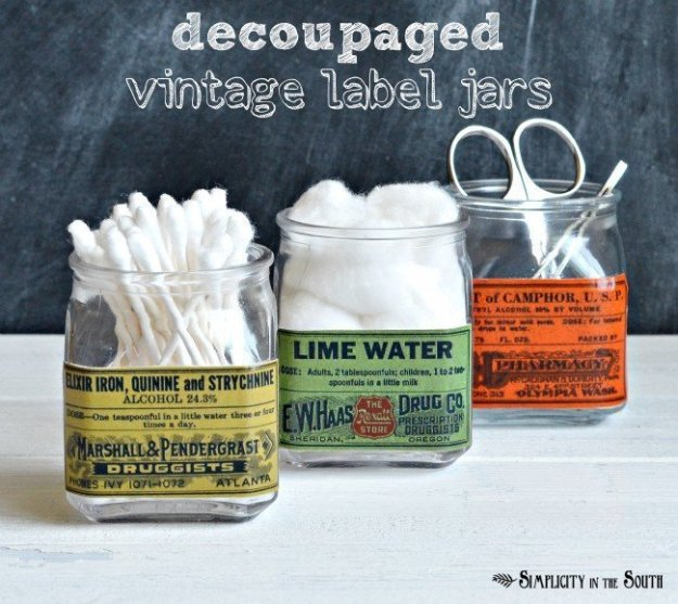 decoupage labels on spice jars