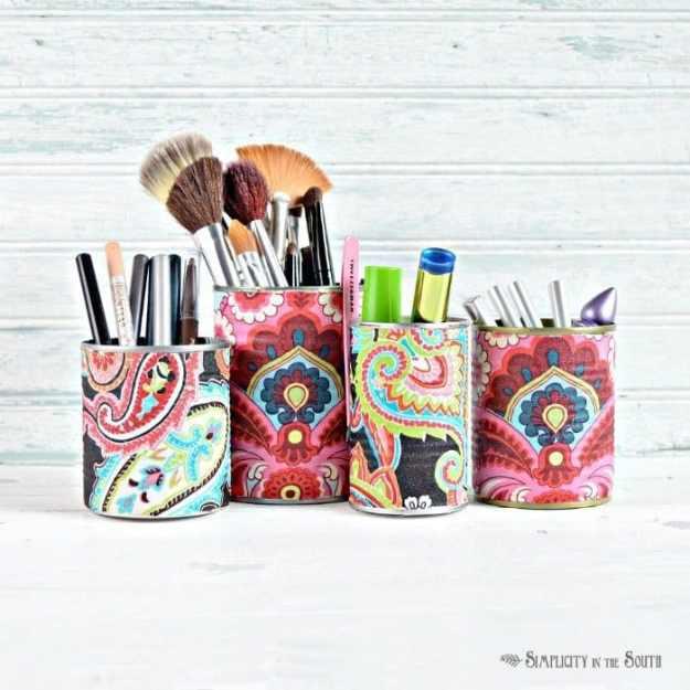 Fabric covered tin can makeup organization idea