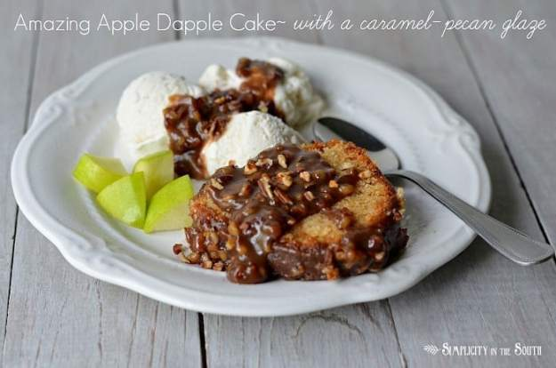 Amazing Apple Dapple Cake with a caramel-pecan glaze.