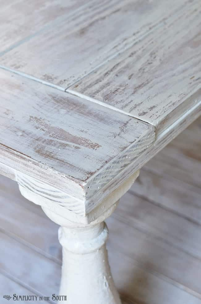 Distressed Coffee Table Painted With MMS Milk Paint In Grain Sack And