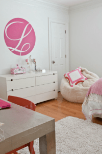 modern girls bedroom with pink and orange - Simplified Bee