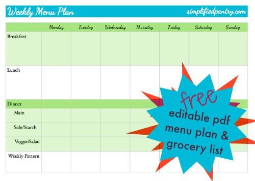 Free Menu Plan  Master Grocery List Simply Convivial