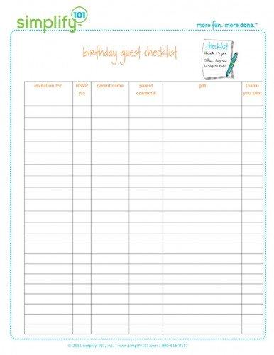 Printable Birthday Party Checklist