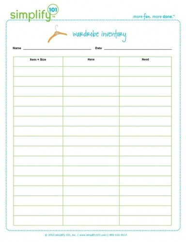 Organize Your Closet Free Wardrobe Inventory Printable