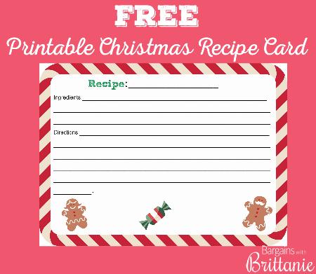 FREE Printable Christmas Recipe Card! - recipe card