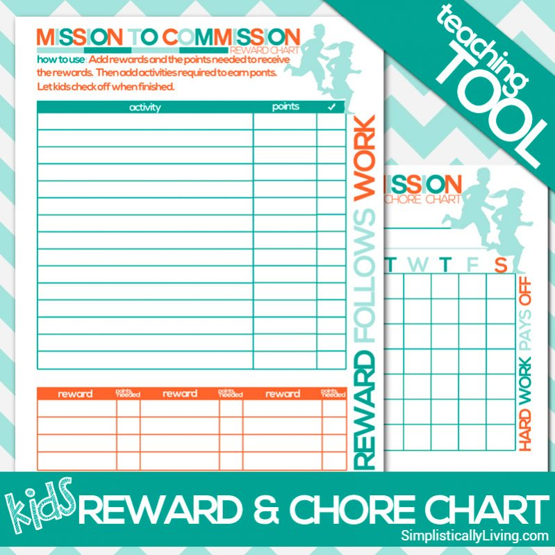 Free Printable Kids Commission Reward and Chore Chart - sample chore chart