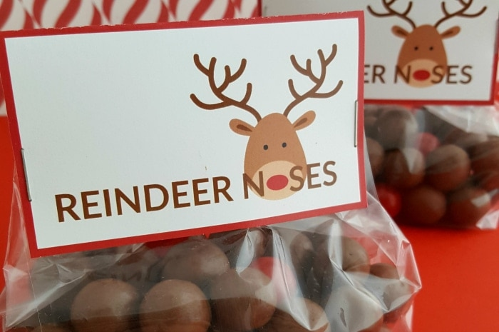 Reindeer Noses Treat Bags (With Free Printable) Simplistically Living