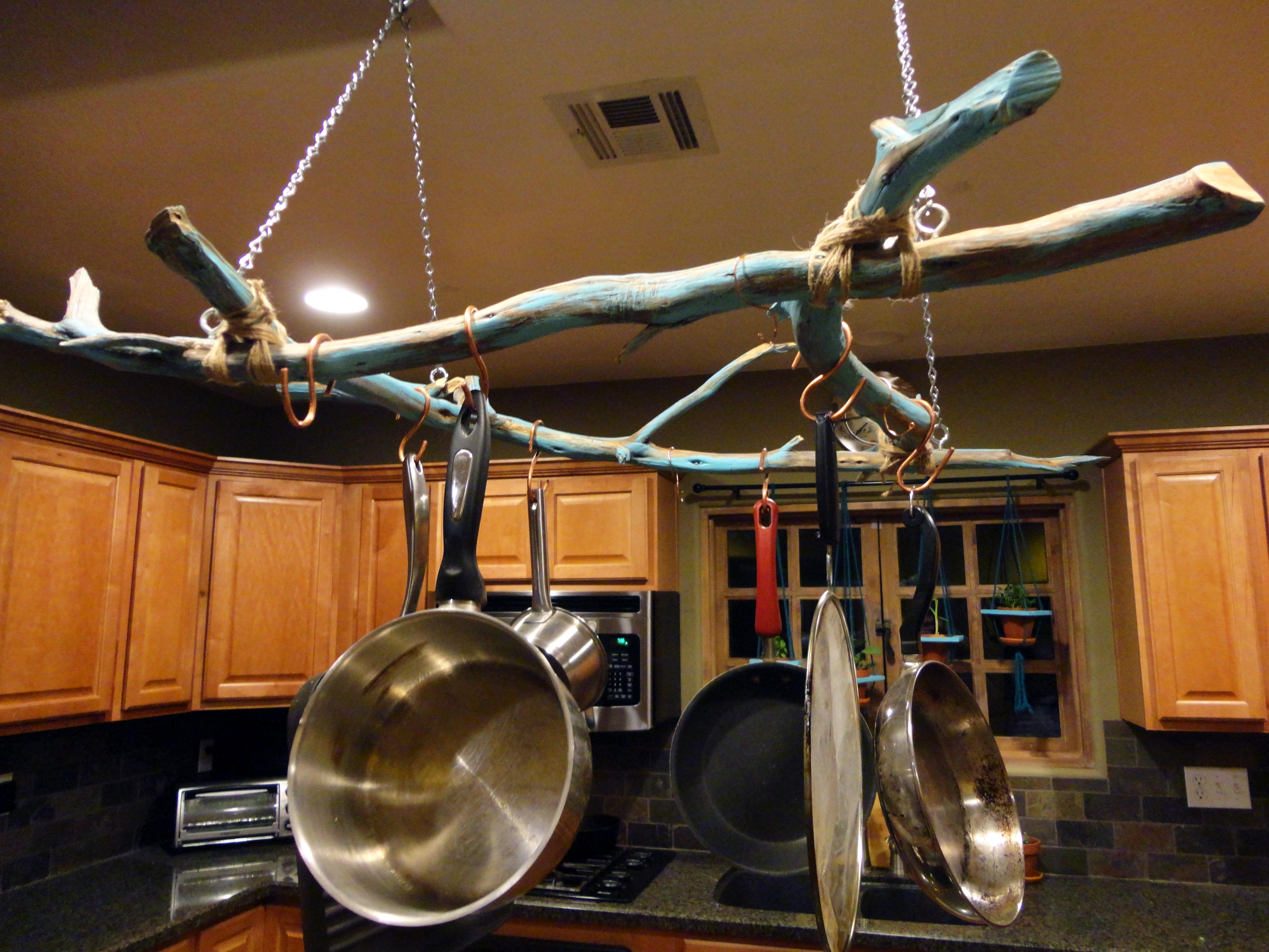 Look outside your home for a great rack to hang your pots and pans on