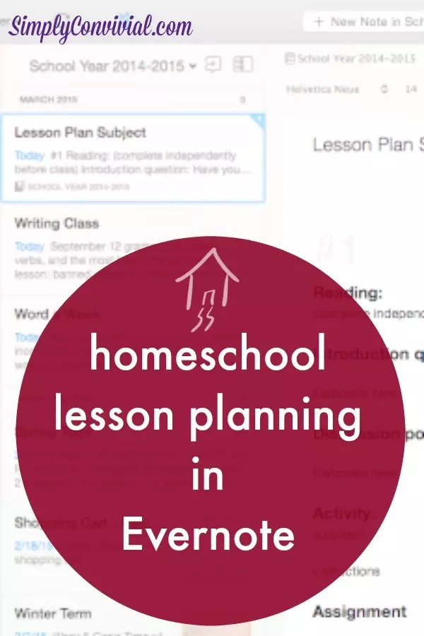 How to make homeschool lesson plans in Evernote - Simply Convivial - lesson planning