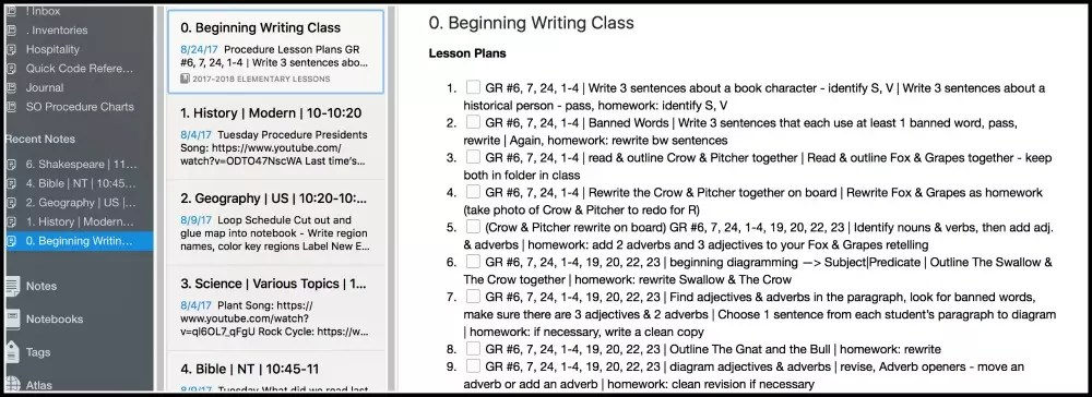 Elementary Lessons Plans 2017-2018 - in Evernote Simply Convivial