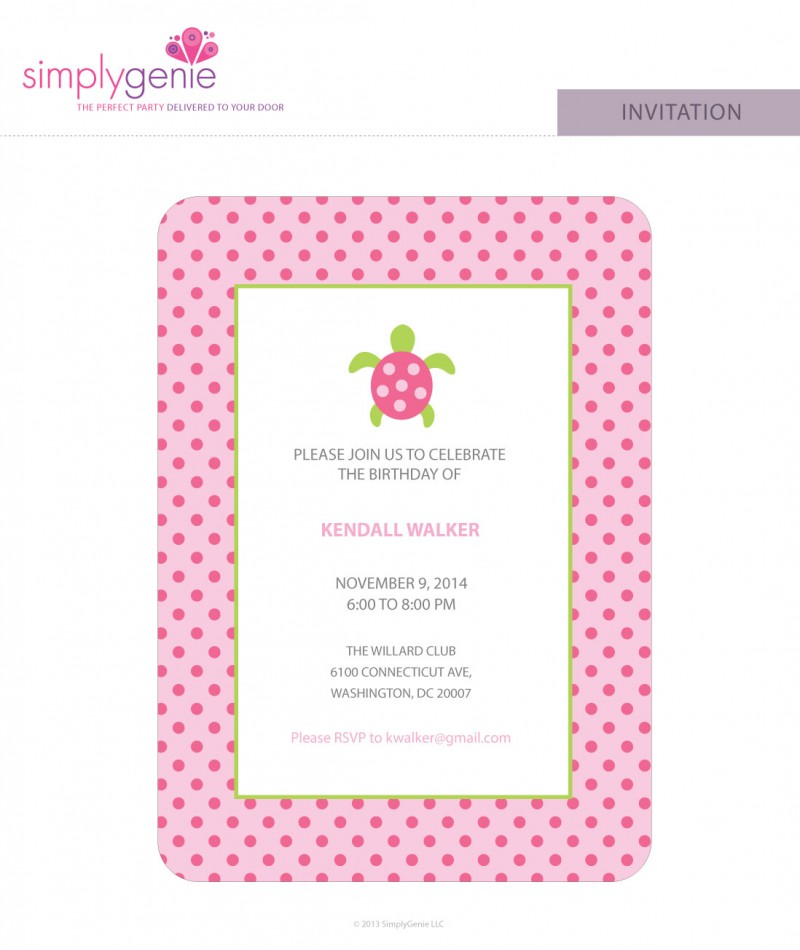 Pink Sea Turtle Birthday Party Invitations