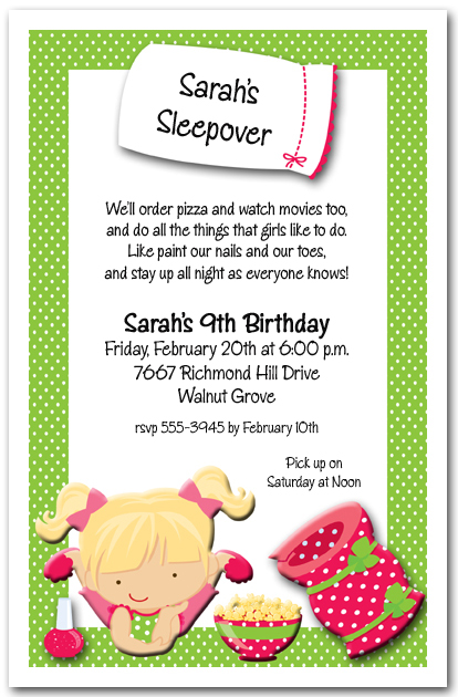 DIY Girls Pajama Party Sleepover Party Invite for all occasions - girl birthday party invitations