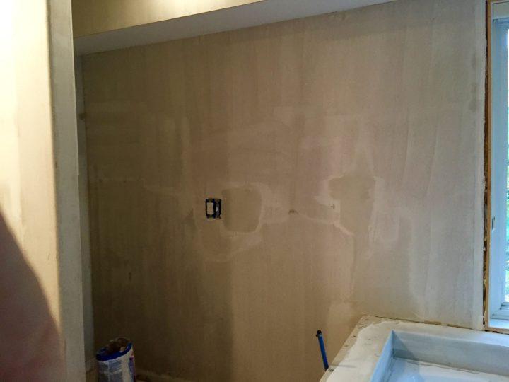 Prepping a master bathroom wall
