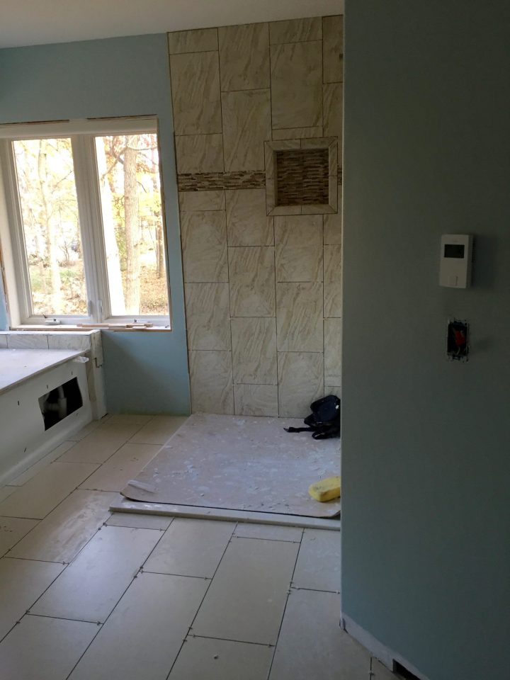 Installed Bathroom Floor Tile