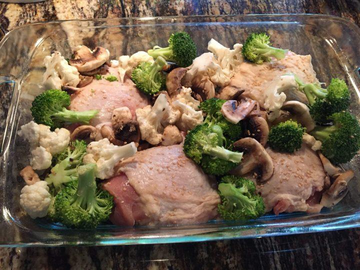 Unbaked Chicken with Broccoli & Cauliflower