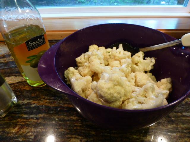 Toss Cauliflower in Olive Oil, Pepper and Salt