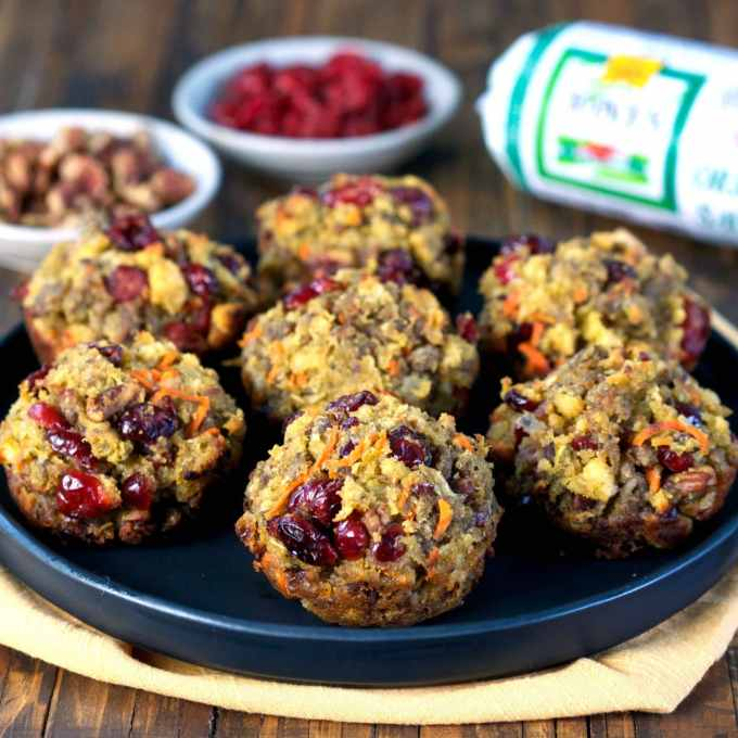 Cranberry and Cornbread Stuffing Muffins with Jones Sausage