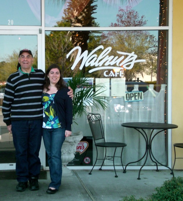 Me with my Dad in front of the cafe.