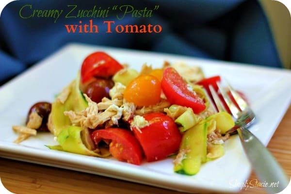 """Creamy Zucchini """"Pasta"""" with Tomato"""