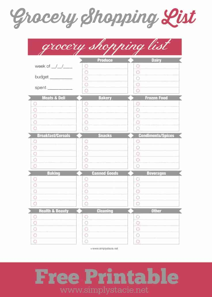 Pin Free Printable Grocery Shopping List Template on Pinterest