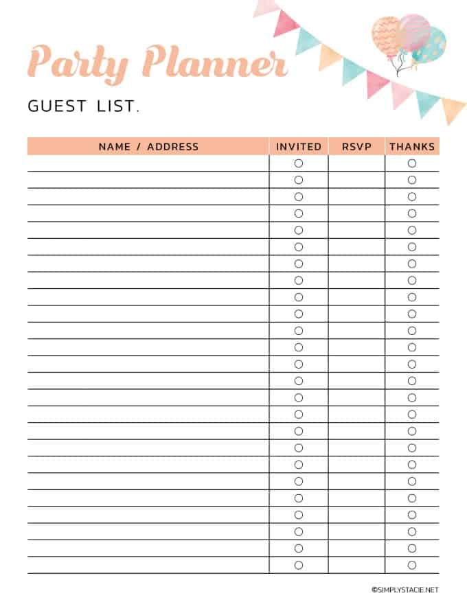 9 Free Party Planning Printables to Keep You Organized - Simply Stacie
