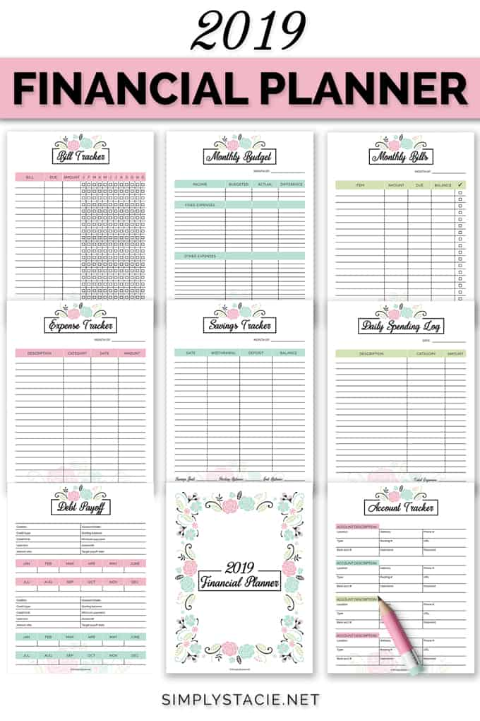 2019 Financial Planner Free Printable - Simply Stacie