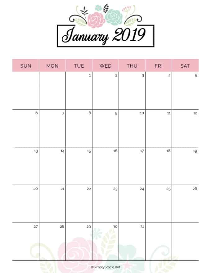 2019 Yearly Calendar Free Printable - Simply Stacie