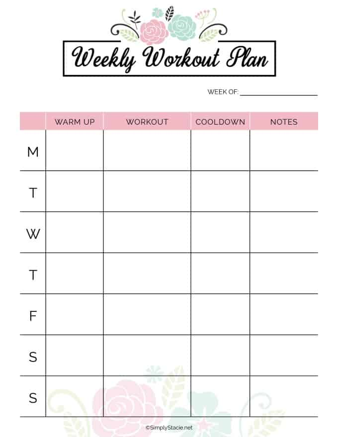 2019 Fitness Planner Free Printable - Simply Stacie