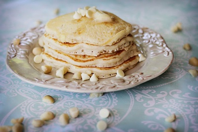 White Chocolate Chip Macadamia Pancakes