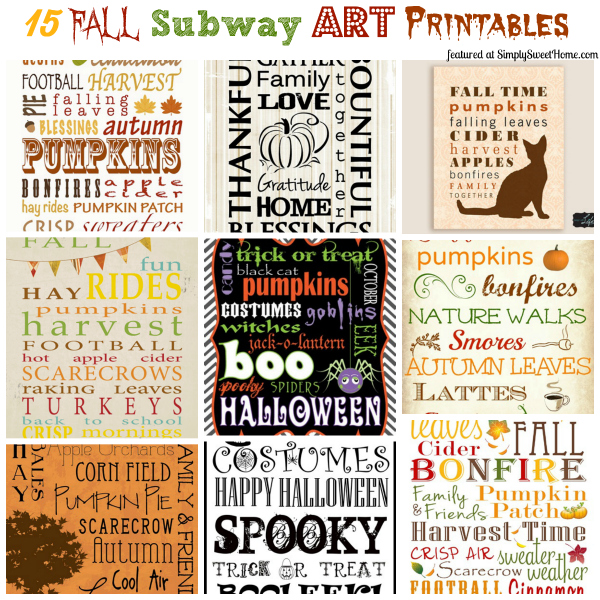 15 Fall Subway Art Printables