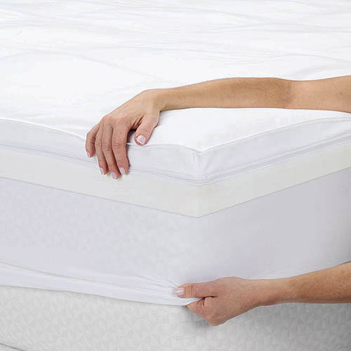 Sleep Innovations 4quot Dual Layer Memory Foam Topper White