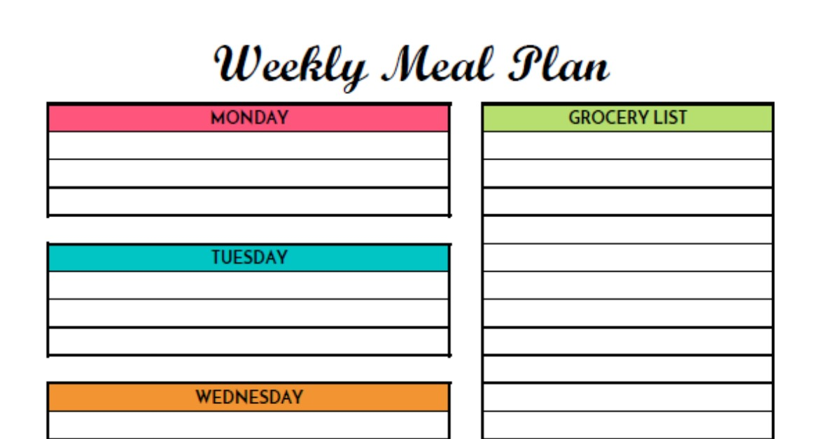 Free Weekly Meal Planning Printable With Grocery List - weekly dinner planner with grocery list