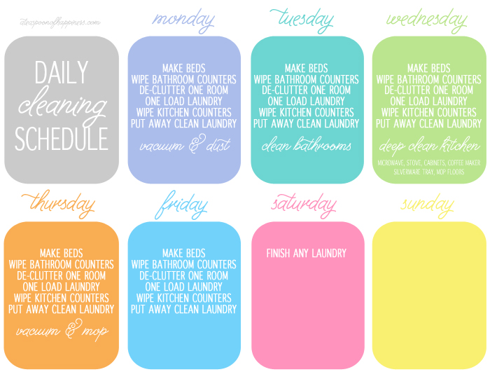 Daily Cleaning Schedule - Simply Whisked - housework schedule