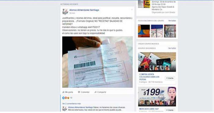 En SLP venden recetas falsas del IMSS a través de Facebook; sólo