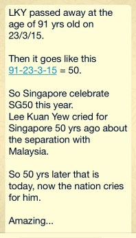 A numerological message that was circulated among WhatsApp users in Singapore
