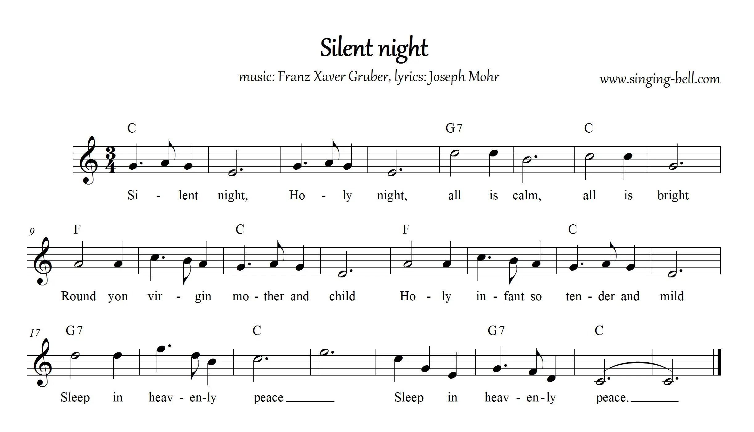 Silent Night C Singing Bell
