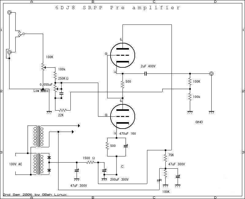 6dj8 tube riaa phono and line preamplifier schematic