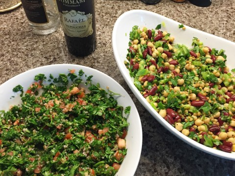 Basic Three bean Salad and Tabbouleh