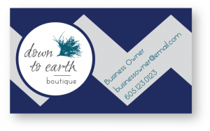 Down to Earth business card by McKeever Design and Copywriting Sioux Falls