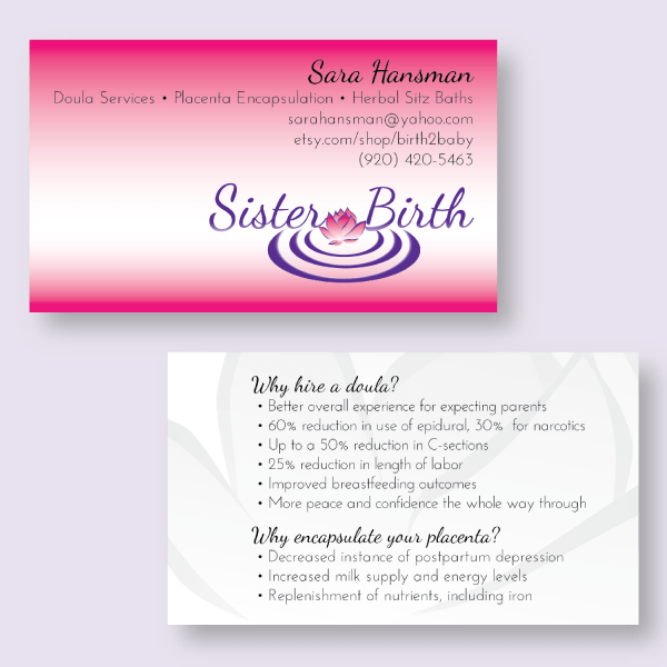 sister birth business cards horizontal