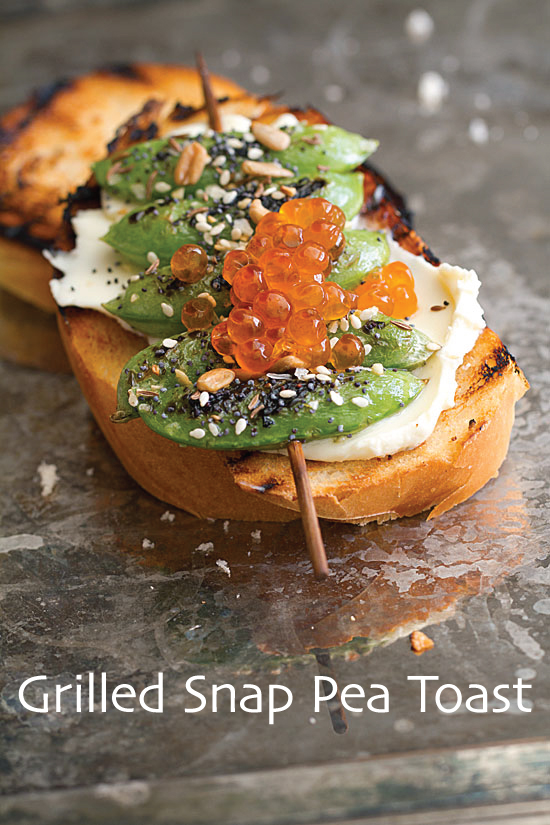 Grilled Snap Pea Toast with Everything-Bagel Seasoning
