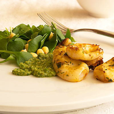 Grilled Squid with Miner's Lettuce Salad and Mint, Parsley, Anchovy Pesto