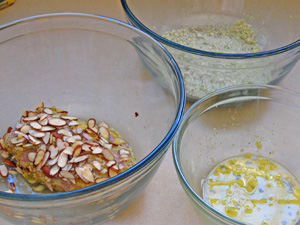 prepping almond chicken