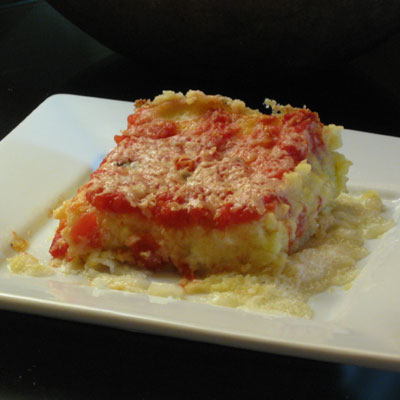 baked polenta with 3 cheese and tomato sauce