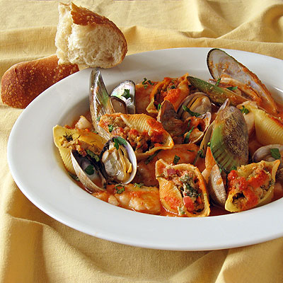 Chorizo Stuffed Pasta Shells in Cioppino Sauce