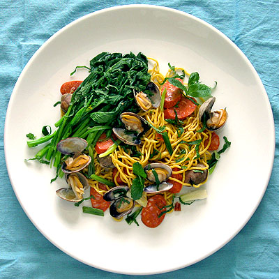 Spicy Clams and Chinese Broccoli