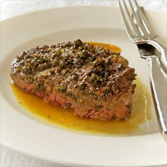 Green Peppercorn Filet of Beef with Pear Vinegar Pan Sauce ...