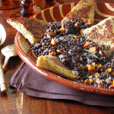 savory french toast and lentils