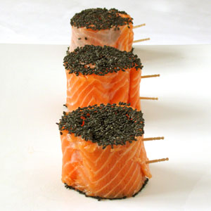 salmon rolls with sesame seeds