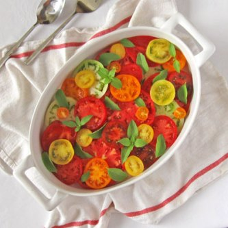 Heirloom Tomato Slices with Lemon Basil